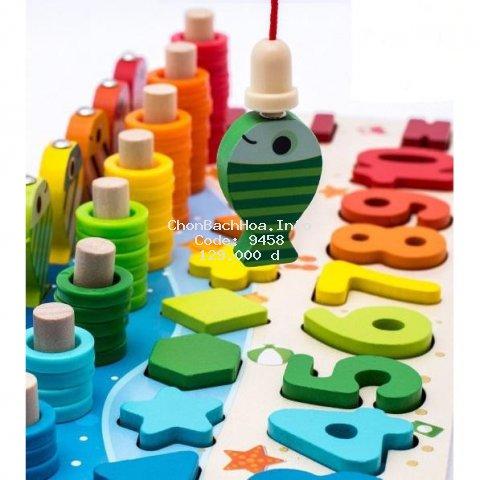 Đồ chơi bảng chữ số xếp hình gỗ  5 trong 1  kèm câu cá hình khối