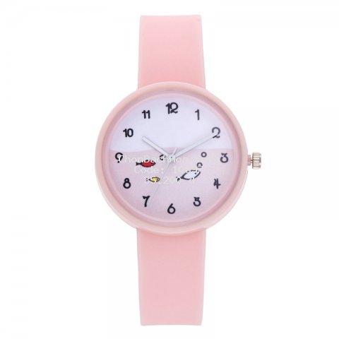 Đồng hồ đeo tay dây silicone in họa tiết cá hoạt hình dễ thương cho bé