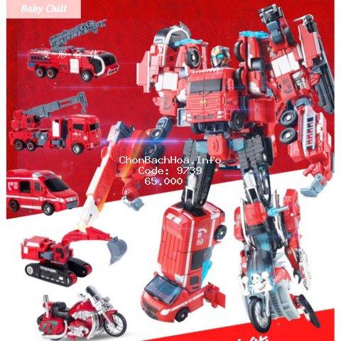 Ghép hình robot transformers - Robot biến hình - Lắp ghép thanh siêu nhân lớn - Baby Chill