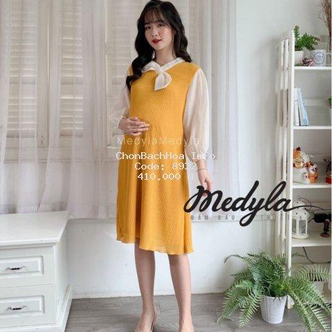 [ HÀNG THIẾT KẾ ] Váy bầu công sở lót lụa dập ly - Đầm bầu thiết kế Medyla - V289