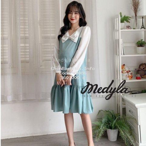 [ HÀNG THIẾT KẾ ] Váy bầu công sở trượt hàn - Đầm bầu dự tiệc thiết kế Medyla - V297