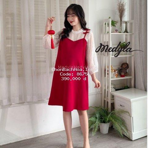 [ HÀNG THIẾT KẾ ] Váy bầu công sở vitex pha tơ chấm bi - Đầm bầu thiết kế Medyla - V296