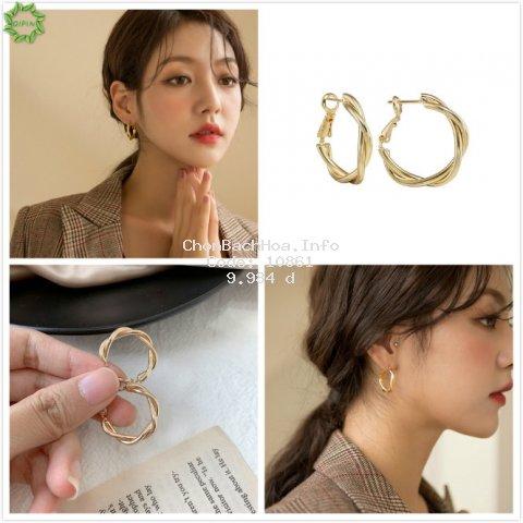 Khuyên tai tròn bằng hợp kim phong cách đơn giản cho phái nữ
