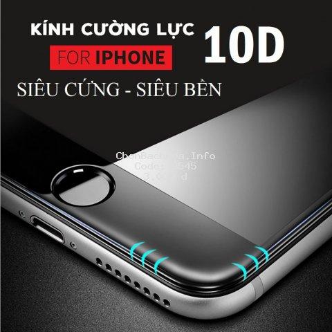⚡️ Kính cường lực iPhone 10D ⚡️ Nền xanh Full Màn Tràn Viền 6 6S 7 8 Plus X XS XR XS MAX 11 PRO MAX