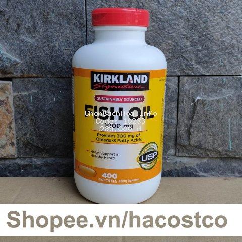 [Mã COSHOT28 hoàn 8% xu đơn 250K] Viên Uống Fish Oil Dầu Cá Kirkland 400 Viên [Mẫu Mới 2020] - Nắp Đỏ Hình thực tế