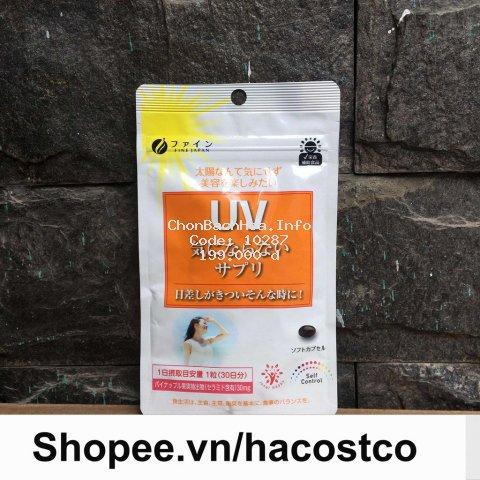 [Mã COSHOT28 hoàn 8% xu đơn 250K] Viên Uống UV Care Plus hỗ trợ chống Nắng Fine Japan Nhật Bản túi 30 viên