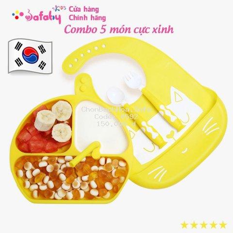 [MADE KOREA] Dụng Cụ Ăn Dặm Cho Bé, Đồ Dùng Ăn Dặm Hàng Công Ty Chất Liệu Silicon - Bafaby kids