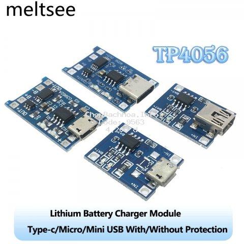 Mô Đun Sạc Pin Lithium Cổng Type-c/Micro/Mini USB 5V 1A 18650 TP4056 Với Chức Năng Bảo Vệ Kép 1A Li-ion