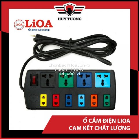 Ổ cắm điện LIOA ? FREESHIP ? Ổ cắm điện LIOA 4 lỗ, 6 lỗ, 10 lỗ có công tắc, dây dài 3m/5m 1000W - Huy Tưởng