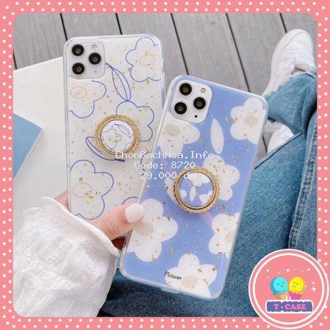 Ốp iphone - Ốp lưng Hoa trắng kèm ring 6/6s/6plus/6splus/7/8/7plus/8plus/x/xs/xsmax/11/11pro max U1-4