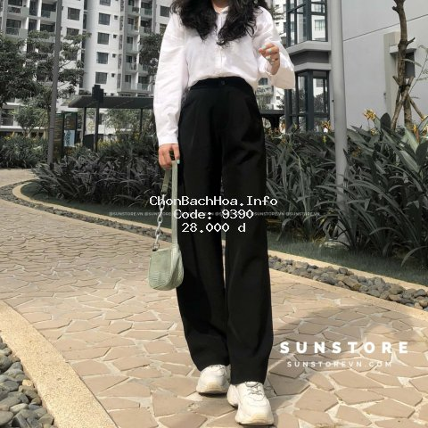 Quần culottes ống rộng suông dài chất dày lưng cao cài nút Sun pant (Tất cả là )
