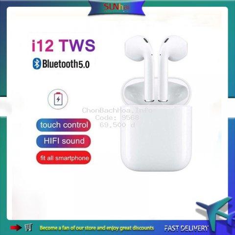 Tai nghe không dây bluetooth 5.0 i12 tws cảm ứng chạm âm thanh nổi