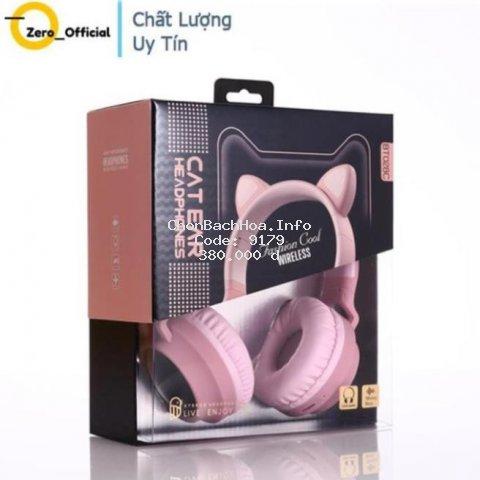 Tai Nghe Mèo Bluetooth, Headphone Tai Mèo Dễ Thương Có Mic,Âm Bass Mạnh Mẽ Và Dung Lượng Pin Khủng 400mAh BH 12 Tháng }