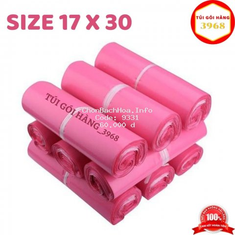 Túi gói hàng [FREESHIP] Túi gói hàng niêm phong thông dụng size 17 x 30 màu hồng
