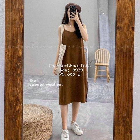 Váy 2 dây, đầm xuông - chất đũi lụa cực mát - ĐX01