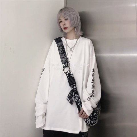 40-150kg Extra Large Women's Clothing 240 Kg 200 Fat Mm Autumn Ins Top Women's Long Sleeve Harajuku BF White T-shirt T-shirt