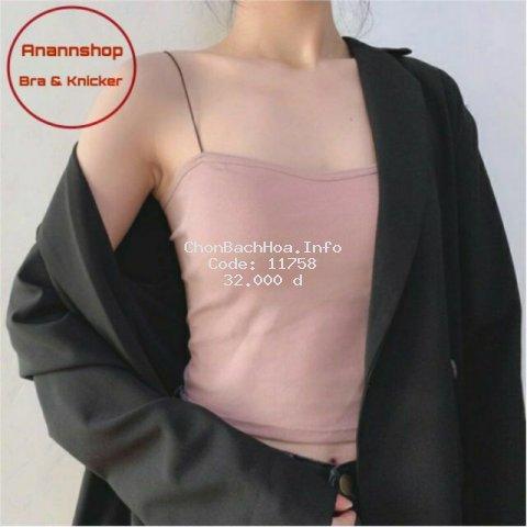 Áo 2 Dây Sợi Bún Có Đệm Ngực Kiểu Dáng Thon Gọn Thời Trang