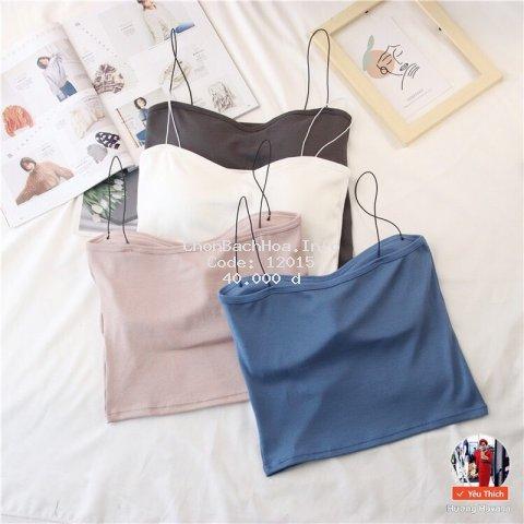 Áo bra thân dài cotton đanh mịn dây mảnh Freesize <55kg FLA52