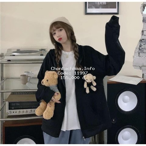 Áo khoác gấu 2 màu đen xám