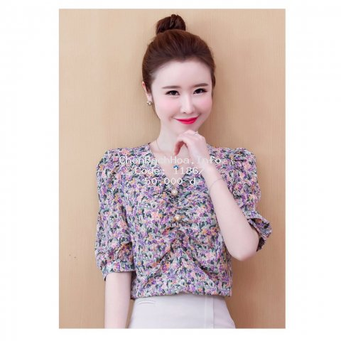 Áo Kiểu Nữ In Bông Hoa Phối Nút Thời Trang Mới SP Av114