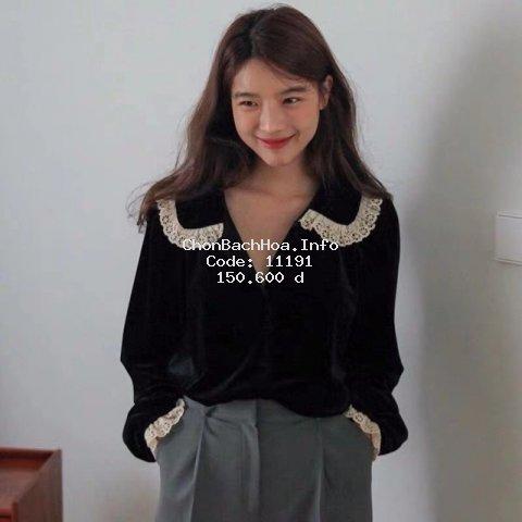 Áo Kiểu Vải Nhung Phối Ren Dáng Rộng Thiết Kế Đơn Giản Thanh Lịch Cho Phái Nữ