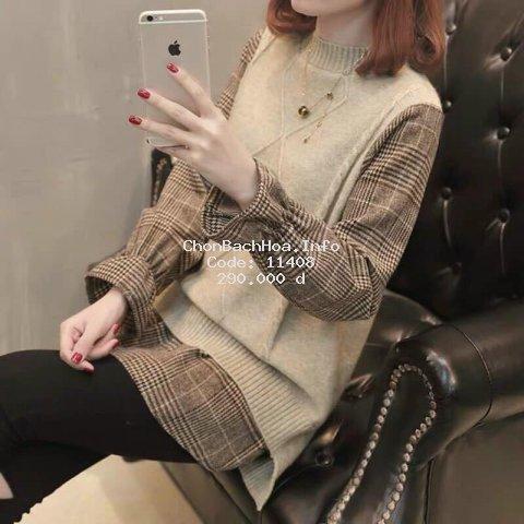 Áo len phối sơ mi kiểu nữ màu cơ bản phong cách Hàn Quốc trẻ trung năng động