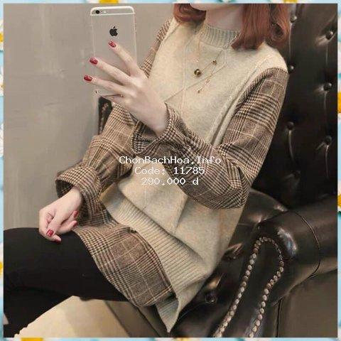 Áo len phối sơ mi kiểu nữ màu cơ bản phong cách Hàn Quốc trẻ trung năng động - Kiểu dáng thời trang   Tipio