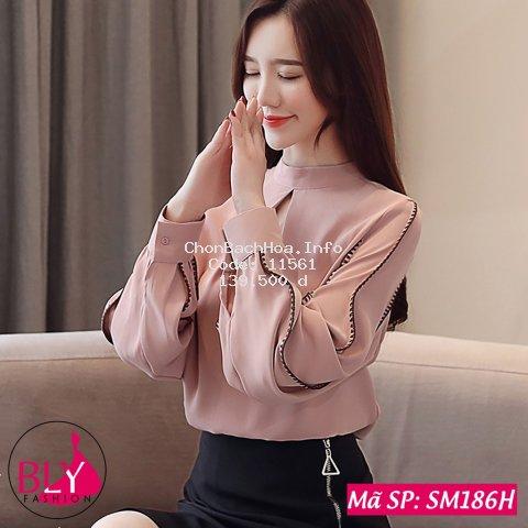 Áo sơ mi nữ kiểu khoét ngực cổ tròn chất liệu lụa nhật BlyFashion SM186 thời trang công sở cao cấp Thanh lịch Sang trọng