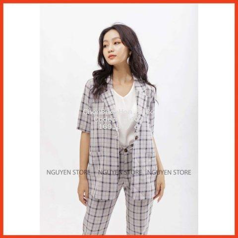 Áo vest nữ ⚡??? ?????⚡ form rộng kẻ sọc phong cách Hàn Quốc, Áo khoác nữ dáng suông rộng thời trang công sở