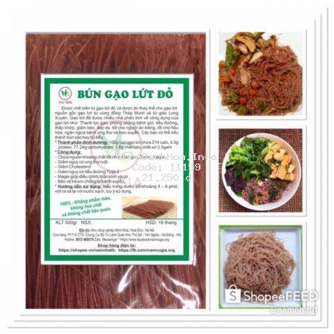 Bún gạo lứt đỏ gói 500g