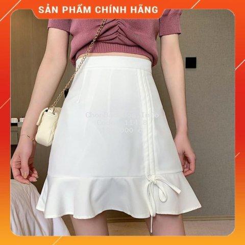 Chân váy chữ A lưng cao 2 tông màu cơ bản. Chân váy nữ rút dây đuôi cá phong cách Hàn Quốc