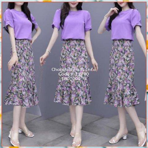 Chân váy dài Vintage Ulzzang style đuôi cá, váy áo hoa nhí kết hợp áo bất chấp mọi kiểu dáng | Tipio