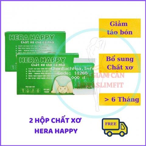 Chất Xơ HERA HAPPY CX02 - Chất xơ Hòa Tan - Hỗ Trợ Táo Bón - Bổ sung Chất xơ (02 Hộp = 30 Gói)