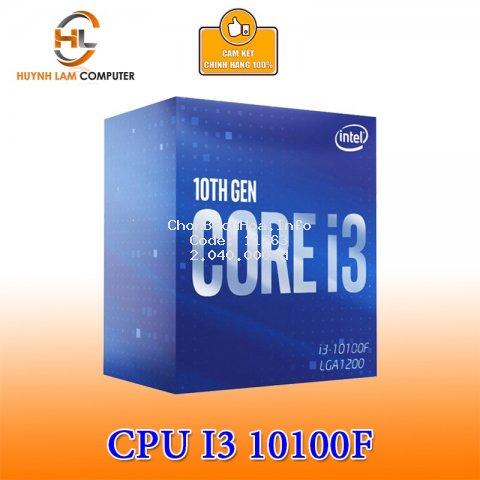 CPU Intel Core i3 10100F 3.6GHz up to 4.3GHz, 4 nhân 8 luồng socket 1200 Chính hãng Viễn Sơn phân phối (không có GPU)