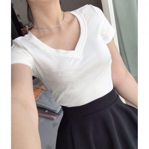 ?Đ?̉ ??̀?? Áo croptop nữ cổ tim thun dày dặn/ áo nữ/ áo thun nữ/ cổ tim/ croptop/ áo kiểu nữ (freesize<52kg)