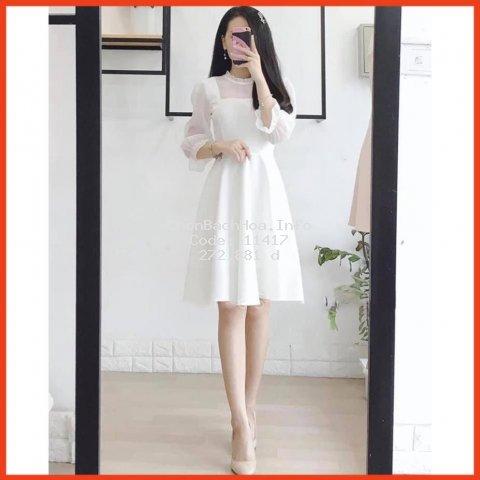 [ Đầm nữ cao cấp ] Đầm trắng voan xòe dịu dàng nữ tính ( Heroine_đầm nữ shop)