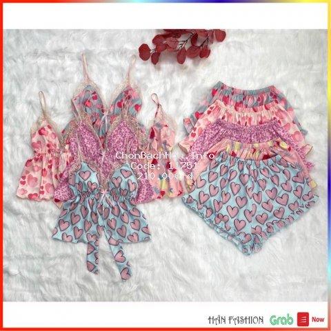 Đồ Ngủ Nữ Chất Lụa In Họa Tiết - Bộ Ngủ Vải Đẹp, Cao Cấp, Áo Kiểu Vạt Đắp Chéo, Quần Lưng Thun | Hân Fahion