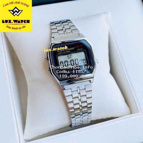 Đồng hồ Nam Nữ Casiio A159 Bạc đen điện tử chống nước Sang Trọng, Cổ Điển Full Box - Lux.watch