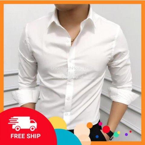 (FREE SHIP) Áo sơ mi nam dài tay Hàn Quốc dáng ôm sơ mi nam trắng cổ bẻ vải lụa thái chống nhăn chống xù