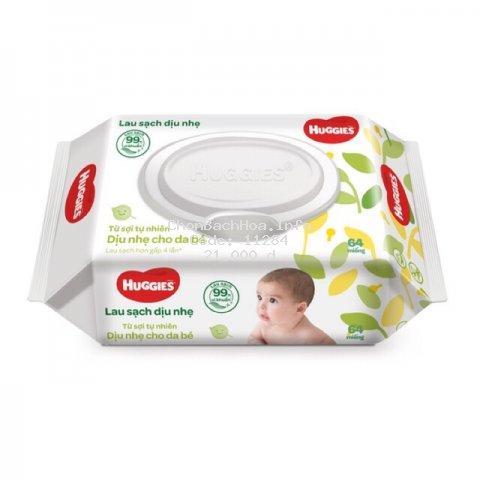 Khăn giấy ướt Huggies dịu nhẹ dành cho trẻ sơ sinh 64 tờ/miếng