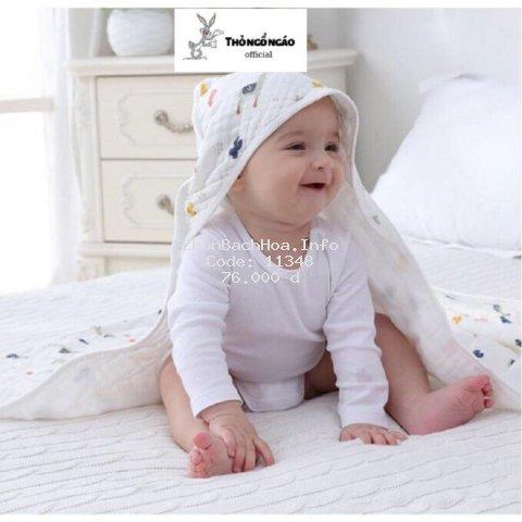 Khăn tắm Chăn ủ xô có mũ chống giật mình 4 lớp cho bé sơ sinh Thỏ ngổ ngáo Official