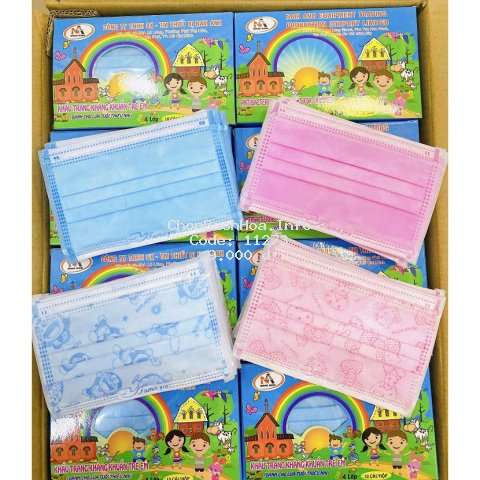 Khẩu trang cho bé 4 lớp giấy kháng khuẩn 1 hộp gồm 10 cái hàng công ty 4u Nam anh Famapro