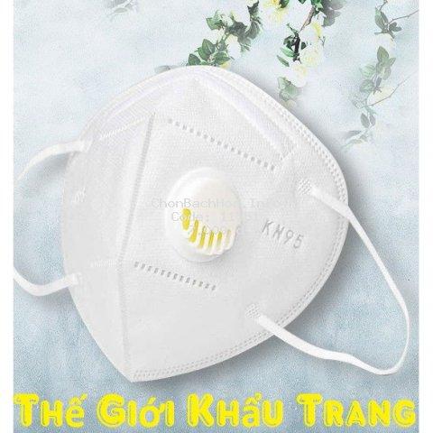 Khẩu trang y tế N95 KN95 5 lớp, có van thở, chống bụi mịn PM2.5, có kẹp kim loại chắc chắn ở sống mũi