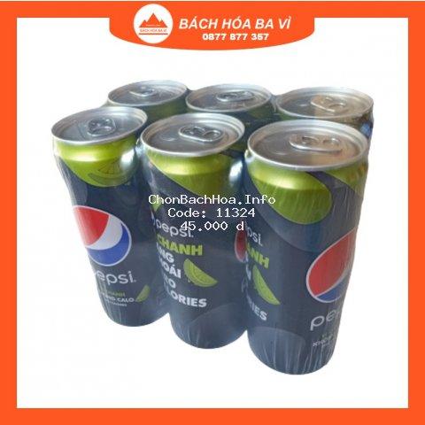 Lốc 6 Lon Nước Uống Có Gaz Pepsi Vị Chanh Không Calo 330ml