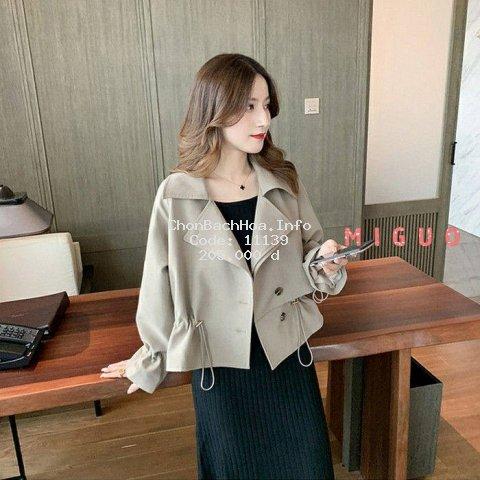 [Mã CBA0111B hoàn 15% tối đa 30K xu đơn 120K] Áo Khoác Màu Trơn Phối Dây Rút Kiểu Hàn Quốc Thời Trang Mùa Thu Năng Động