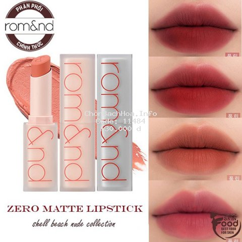[Mã FMCGFSS11 giảm 8% đơn 250K] [New][Shell Beach Nude Collection] Son thỏi lì Romand New Zero Matte Lipstick 3g