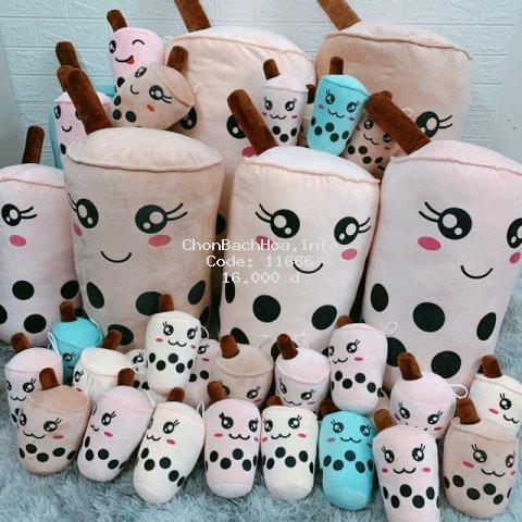 [Mã TOYNOV hoàn 20K xu đơn 50K] Gấu bông gối ôm bình trà sữa nhồi bông chất liệu vải nhung Hàn Quốc size nhỏ