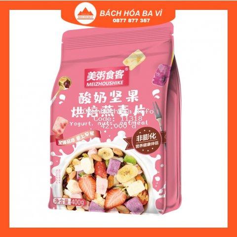 (Màu Hồng) Ngũ Cốc Sữa Chua Hoa Quả Sấy Khô Oatmeal Yên Mạch Meizhoushike 400g