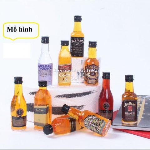 Mô hình rượu mini trang trí bánh sinh nhật, chai rượu mô hình