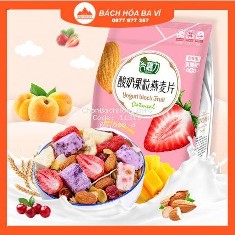 Ngũ Cốc Sữa Chua Hoa Quả Sấy Khô Không Đường Yogurt Block Fruit - 1 Gói 500g Gujiali